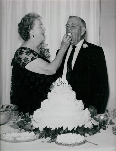This photo of my grandparents, Virgie Doughty Hughes and Arley Hughes, was taken at their 50th anniversary celebration in 1967.