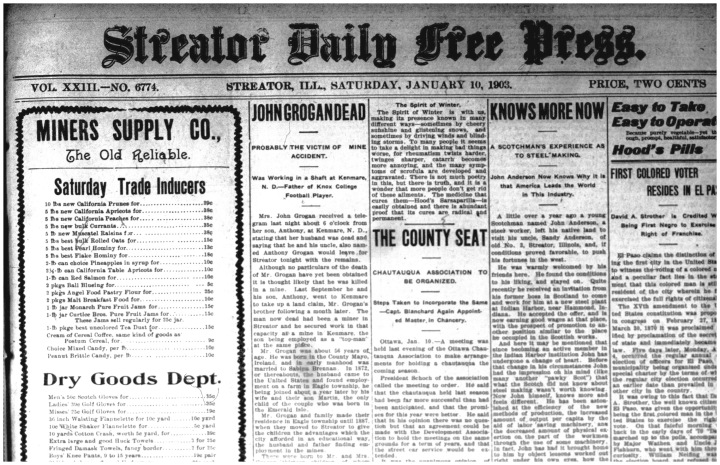 The front page of the Streator Daily Free Press from Saturday, January 10, 1903.