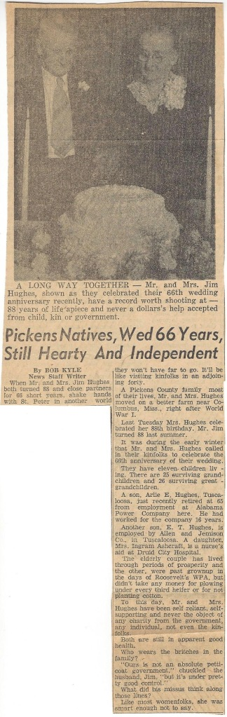 Pickens Natives, Wed 66 Years