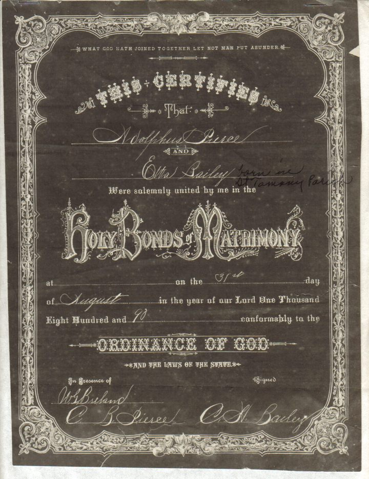 Adolphus Peirce and Etta Bailey Wedding Cerificate